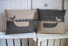 Charcoal Rustic Hessian Whale Cushion - Im kind of diggin these. Not that I have anything that would match them.