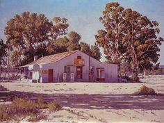 Photo: Here's a painting I made of a 'winkel' somewhere in the Sandveld. I've been back to try and find the place over the years but just can't locate it. Somewhere in the area of Paleisheuwel and Elands Baai and Leipoltville. Any idea, anyone? Corner Cafe, South African Artists, Unique Paintings, Landscape Paintings, Landscapes, Linocut Prints, Art And Architecture, Small Towns, Art Pictures