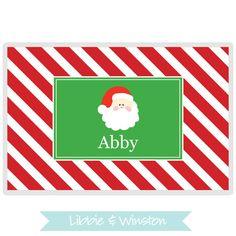 personalized christmas santa placemat for children monogram - Christmas Monograms