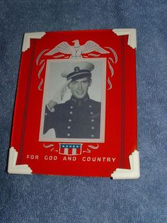 VINTAGE 1940'S WWII PATRIOTIC RED ART DECO REVERSE PAINTED PICTURE FRAME  #ArtDeco