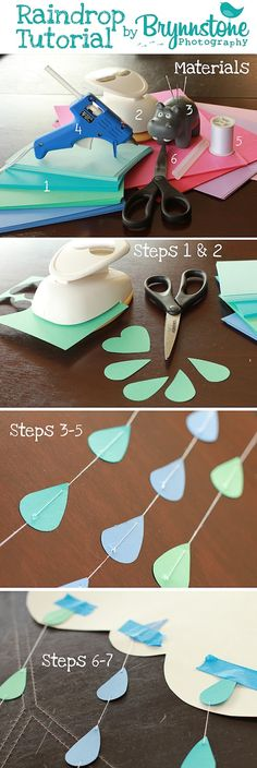 Discover thousands of images about Raindrop & Heart Garland/Backdrop Tutorial! Baby Party, Baby Shower Parties, Baby Shower Themes, Shower Ideas, Cloud Baby Shower Theme, Baby Showers, Raindrop Baby Shower, Baby Shower Garland, April Showers