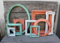 Set of 9 Open Frame Gallery - Coral, Mint, White - Painted Frames - Scatter Frames - Coral Decor - Mint Decor - Turquoise - Ornate Frames