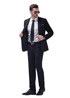 XQS Men Embroidery Slim Fit 3 Piece Set Open Front Tuxedo Suits Jacket