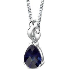 Mysterious Allure: Sterling Silver Rhodium Finish Pear Shape Checkerboard Cut Blue Sapphire Pendant with 18 inch Silver Necklace -