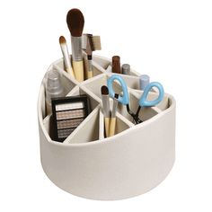 Stock Your Home Cream Desk Organizer make up brush holder Rotating Storage Caddy *** You can find more details by visiting the image link. Home Office Organization, Desktop Organization, Bathroom Organisation, Makeup Organization, Storage Caddy, Makeup Storage, Storage Ideas, Storage Baskets, Storage Solutions