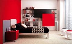 Red Bedroom Design, Do you like to have an energetic, vivid bedroom design? The red bedroom design is an eye-catching design that arrests the eyes of the people; it is bright, modern and elegant bedr Red Bedroom Design, Bedroom Red, Bedroom Colors, Bedroom Wall, Girls Bedroom, Bedroom Decor, Bedroom Ideas, Bedroom Furniture, Funky Bedroom