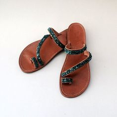 ERIKOUSSA - Handmade Ancient Greek Leather Sandals / Gladiator / Spartan / Women Flat Shoes / Summer Flip Flop