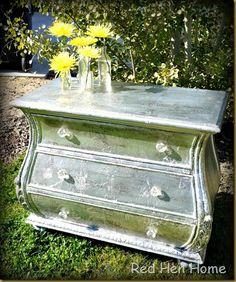 silver leaf dresser with aluminum foil