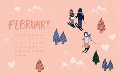 FREEBIE! Downloadable desktop background with February calendar.