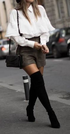spring outfit with a white top   skirt   heels