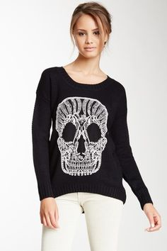 Skull Embroidery Hi-Lo Crew Neck Sweater