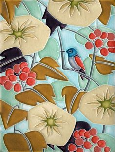 6x8 Hummingbird in Light Blue by Motawi Tileworks