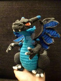 crochet Mega Charizard X by WayaYoshitaka on DeviantArt Pokemon Crochet Pattern, Crochet Animal Patterns, Stuffed Animal Patterns, Crochet Patterns Amigurumi, Crochet Dolls, Crochet Dragon Pattern, Crochet Animals, Knit Or Crochet, Cute Crochet
