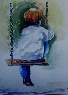 Watercolor Art Ideas Sad New Ideas Watercolor Illustration, Watercolor Paintings, Watercolour, Arte Van Gogh, Sad Drawings, Watercolor Pictures, Painting People, Painting & Drawing, Swing Painting