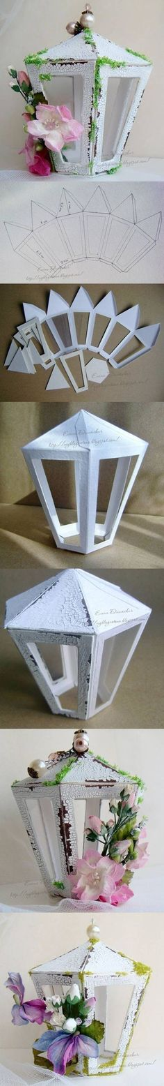 """DIY Cardboard-Lantern includes Template -- paint with crackle paint for aged look, use transparencies or page protector plastic for """"glass"""", add seasonal embellishments and battery tea lights (Diy Paper) Fun Crafts, Diy And Crafts, Arts And Crafts, Recycled Crafts, Cardboard Crafts, Paper Crafts, Diy Gifts Paper, Cardboard Tree, Cardboard Fireplace"""