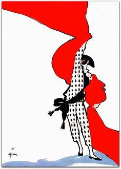 René Gruau para International Textiles, 1950 Durante a Segunda Guerra Mundial, ele vive em Lyon e depois em Cannes. http://sergiozeiger.tumblr.com/post/110097829948 Instalado em Cannes em 1946, marca o início do seu sucesso, e sua primeira colaboração com a International Textiles para quem ele desenha todas as capas até 1984.