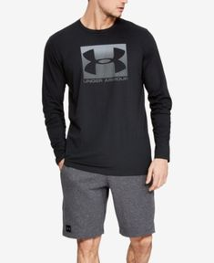 Under Armour Men's Charged Cotton Long-Sleeve Logo T-Shirt - Black Small Under Armour Outfits, Under Armour Men, Men's Briefs, Graphic Sweatshirt, T Shirt, Tshirts Online, Mens Fashion, Sweatshirts, Hoodies