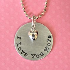 Valentine / Wife / Girlfriend / Daughter Gift - I Love You More Hand Stamped Necklace by Korena Loves. $19.00, via Etsy.