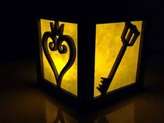 The Handmade Kingdom Hearts Light Box--this one made with laser cut MDF, but I think I'd use foam. Disney Kingdom Hearts, Laser Cut Mdf, Heart Diy, Heart Party, Heart Decorations, Tea Lights, Nerdy, Geek Stuff, Handmade