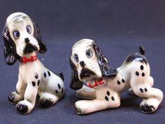 Hound Dog Salt & Pepper Shaker Set Vintage 1950's Japan Ceramic by GarageSaleGlass, $14.99
