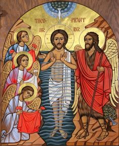 """""""The fountain of sweat in the body is set to protect against fever; the fountain of Christ's Baptism is set to protect you against the evil flame.""""- St Ephraim the syrian. *A Blessed Feast of Epiphany! Christian Symbols, Christian Art, Religious Icons, Religious Art, Baptism Of Christ, Roman Church, Religion, Images Of Christ, Christian Pictures"""