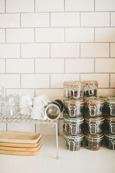 Ali & Dustin's Reinvented Piece of Denver History: The Black Eye Coffee Shop Workspace Tour Eat In Kitchen, Kitchen Dining, Kitchen Decor, Laundry Room Storage, Kitchen Organization, Organizing, Black Eye Coffee, Kitchen Gadgets, Kitchen Appliances