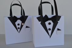 Items similar to Tuxedo party favor gift bag customized on Etsy Diy Arts And Crafts, Crafts To Sell, Paper Crafts, Homemade Gift Bags, Father's Day Celebration, Paper Purse, Gift Wraping, Wedding Cards Handmade, Wedding Boxes