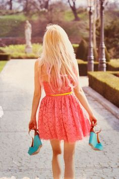 The dress, the shoes, the lighting, the pink tint in her hair, the setting, it's all beautiful!