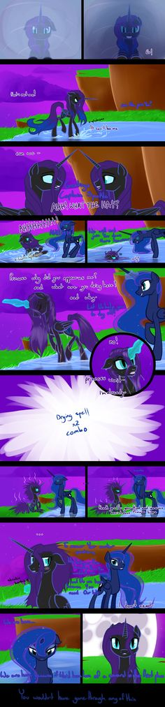 But I rushed the backgrounds so don't look at them and everything will be fine. I like to think of Luna as less mature than Celestia. While Celestia does know when to have her fun. My Little Pony Cartoon, My Little Pony Pictures, Good Cartoons, Nightmare Moon, Mlp Comics, Mlp Fan Art, Little Poney, Comics Story, Pony Drawing