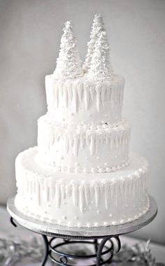gorgeous winter snow christmas tree cake: I like the icicles on the top edges!