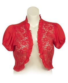 Plus Size Coral Crochet Shrug Extra Touch. $25.00