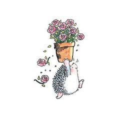 Penny Black Rosy Hedgehog w Roses Rubber Stamp 3344J | eBay