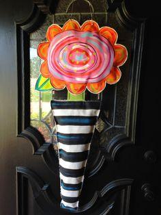 Custom Whimsical Flower Striped Topiary Wood Door Hanger - Queenie Eileenie