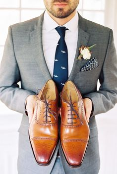Classic men's shoes and grey suit | Wedding & Party Ideas | 100 Layer Cake