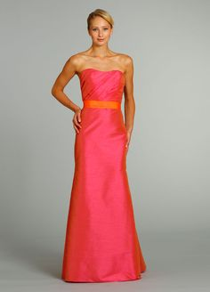 Bridesmaids and Special Occasion Dresses by Jim Hjelm Occasions - Style jh5270..Strawberry dupioni strapless A-line bridesmaid gown, pleated bodice, natural waist with Tangerine grosgrain ribbon belt.