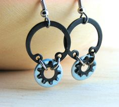 Dangle Earring Hoops Black Metal Hardware Jewelry Industrial