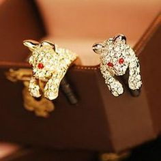 Hot Sale Rhinestoned Leopard Shape Cellphone Dustproof Plug For Women