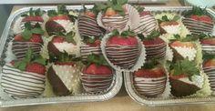 Chocolate covered strawberries!  Milk Chocolate & white chocolate!