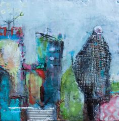 """10"""" x 10"""", Part of my urban citycape painting series. To see more of my art or to sign up for my newsletter, please visit my website."""