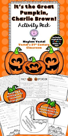 It's the Great Pumpkin, Charlie Brown Activity pack includes 7 ELA activities to use with the book or movie. #vestals21stcenturyclassroom #itsthegreatpumpkin #thegreatpumpkin #charliebrown