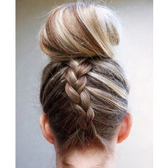 Dutch Braided Top Knot http://www.womenshealthmag.com/beauty/hairstyles-for-wet-hair/slide/6