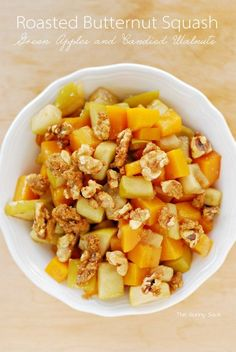 Roasted Butternut Squash with Green Apples and Candied Walnuts is a delicious side dish recipe for fall!
