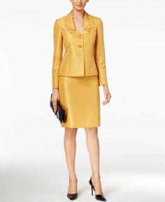 Le Suit Three-Button Shimmer Skirt Suit