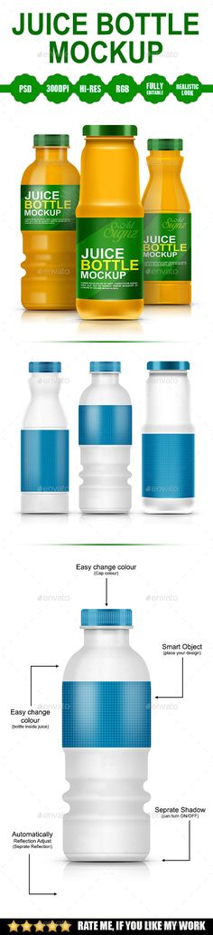 Juice Bottle Mockup by Artsignz 3 Different Bottle Mockup How to use: Double click on the smart object in folder name(<<replaceme) in the PSD file and replace y