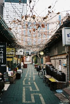 Seoul--traditional street with homes and shops