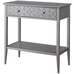 Console Table: Threshold Fretwork Console Table - Gray ($130) ❤ liked on Polyvore featuring home, furniture, tables, accent tables, elephant, elephant table, gray furniture, colored furniture, grey console table and gray console table