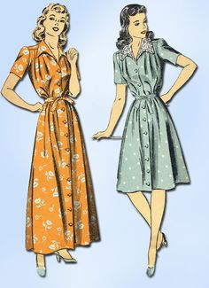 1940s Vintage Du Barry Sewing Pattern 5867 Easy WWII Misses Housecoat Size 14