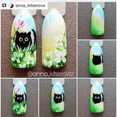 Cat Nail Art, Animal Nail Art, Cat Nails, Animal Nail Designs, Diy Nail Designs, Acrylic Nail Designs Classy, Vintage Nails, Manicure Y Pedicure, Spring Nail Art