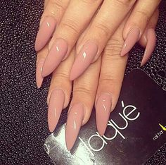 Nude long stiletto nails
