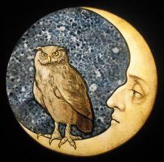 Owl and Moon stained glass by David Fode Sun Moon Stars, Sun And Stars, Sky Moon, Blue Moon, Moon Spells, Moon Illustration, Good Night Moon, Moon Magic, Beautiful Moon